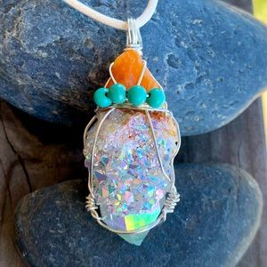 Fire Opal, Angel Aura Crystal & Turquoise Pendant